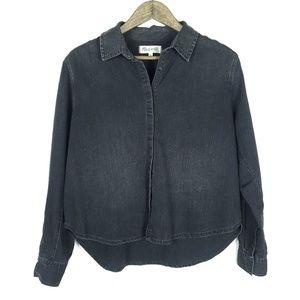 Madewell Button Down Denim Cropped Boyshirt Top